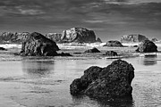 Mark Kiver Prints - Bandon Sea Stacks Black and White Print by Mark Kiver