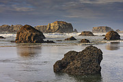 Mark Kiver Prints - Bandon Sea Stacks Print by Mark Kiver