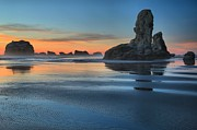 Pacific Coast Beaches Framed Prints - Bandon Stacks Framed Print by Adam Jewell