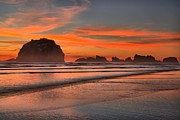 Beach Sunsets Art - Bandon Sunset And Surf by Adam Jewell
