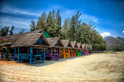Purple Flowers Digital Art - Bang Pu Beach Huts by Adrian Evans