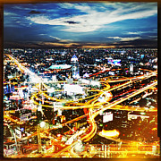 Motion Prints - Bangkok city in twilight  Print by Setsiri Silapasuwanchai
