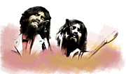 Beatles Drawings Prints - Bangladesh  George Harrison Print by Iconic Images Art Gallery David Pucciarelli