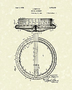 Guitar Drawings Posters - Banjo 1928 Patent Art Poster by Prior Art Design