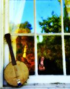 Folk Digital Art Framed Prints - Banjo Mandolin in the Window Framed Print by Bill Cannon