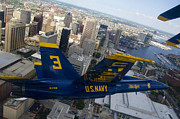 Blue Angels Framed Prints - Banking Above Baltimore Framed Print by Ricky Barnard