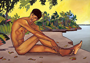 Male Figure Posters - Banks of the Mekong Poster by Douglas Simonson