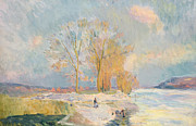 Wintry Framed Prints - Banks of the Seine and Vernon in Winter Framed Print by Albert Charles Lebourg