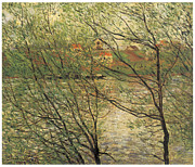 La Grande Jatte Painting Framed Prints - Banks of the Seine Island of La Grande Jatte Framed Print by Claude Monet