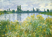 Impressionism Posters - Banks of the Seine Vetheuil Poster by Claude Monet