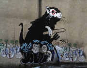 Undercover Framed Prints - Banksy lockpick rat  Framed Print by A Rey