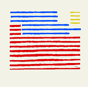Abstract American Flag Paintings - Banner Stripe by Brian Buckley