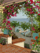 Porch Painting Originals - Banning House Bougainvillea by Alice Leggett