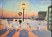 Bannister Painting Metal Prints - Bannisters Wharf Newport RI Metal Print by Betty Ann Morris