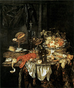 Wine Glasses Paintings - Banquet Still Life with a Mouse by Abraham van Beyeren