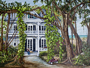 Key West Paintings - Banyan Beach House by Janis Lee Colon