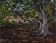 Tree Roots Paintings - Banyan Tree by Darice Machel McGuire