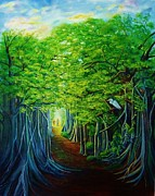Tree Roots Painting Posters - Banyan Walk Poster by Jane  Ricker