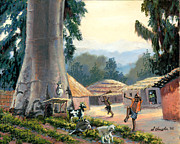 Baobab Paintings - Baobab Village in Malawi by Sidney Vaughn