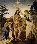 Christ Images Digital Art Prints - Baptism Of Christ Print by Leonardo da Vinci