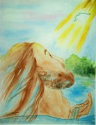 River Jordan Painting Posters - Baptism of Christ Poster by Melanie Palmer