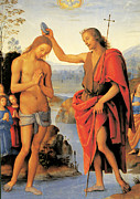 Baptism Painting Framed Prints - Baptism of Christ Framed Print by Pietro Perugino