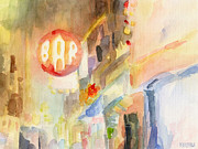 City Night Scene Paintings - Bar 8th Avenue Watercolor Painting of New York by Beverly Brown Prints