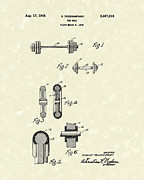Bell Drawings - Bar Bell 1948 Patent Art by Prior Art Design