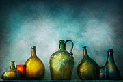 Bluish Prints - Bar - Bottles - Green bottles  Print by Mike Savad