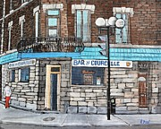 Quebec Art Paintings - Bar de Courcelle St-Henri by Reb Frost