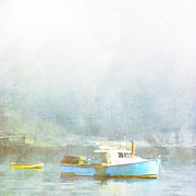 New England Digital Art Framed Prints - Bar Harbor Maine Foggy Morning Framed Print by Carol Leigh