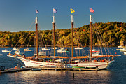 Docked Sailboats Prints - Bar Harbor Schooner Print by Brian Jannsen