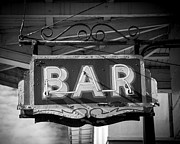 Brick Buildings Framed Prints - Bar Neon Sign Framed Print by Perry Webster