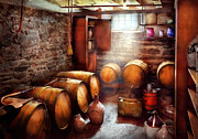 Old Barrels Posters - Bar - Wine - The Wine Cellar  Poster by Mike Savad
