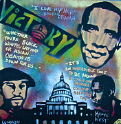 Barack Obama Painting Framed Prints - Barack and Common and Kanye Framed Print by Tony B Conscious