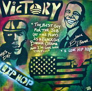 Michelle Obama Painting Prints - Barack and MOS DEF Print by Tony B Conscious