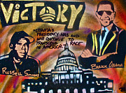 Hip Hop Painting Originals - Barack and Russell Simmons by Tony B Conscious
