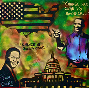 Politicians Painting Originals - Barack and Sam Cooke by Tony B Conscious