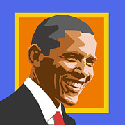 Barack Obama Digital Art Prints - Barack Print by Douglas Simonson