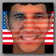 Barack Obama Digital Art Originals - Barack Obama 3D Face  by Museum Quality Print Modern Interior Decorating