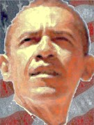 Barack Obama Mixed Media Acrylic Prints - Barack Obama American President Acrylic Print by Peter Art Prints Posters Gallery