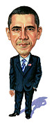 Caricature Paintings - Barack Obama by Art