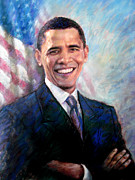 President Barack Obama Drawings Framed Prints - Barack Obama Framed Print by Viola El