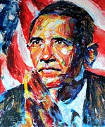 Democrat Paintings - Barack Obama by Derek Russell