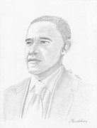 Barack Obama Drawings Prints - Barack Obama Print by Jose Valeriano