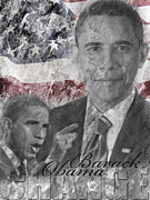 Barack Obama Digital Art Prints - Barack Obama Print by Kathrine Eriksen