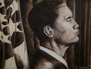 Barack Drawings Prints - Barack Obama Print by Larry Silver