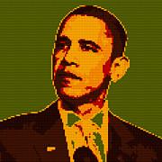 Barack Obama Lego Digital Painting Print by Georgeta Blanaru