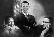 Obama Pastels Framed Prints - Barack Obama Martin Luther King Jr and Malcolm X Framed Print by Ylli Haruni