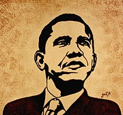 Obama Paintings - Barack Obama original coffee painting by Georgeta  Blanaru